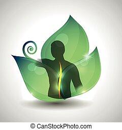 levél növényen, gerinc, zöld, háttér., egészség, emberi, törődik, árnykép