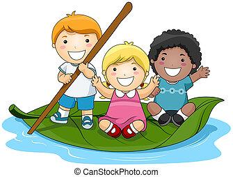 levél növényen, gyerekek, csónakázik