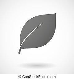 levél növényen, háttér, ikon, fehér
