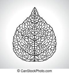 levél növényen, isolated., makro, ábra, vektor, fekete, természetes
