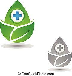 levél növényen, jelkép, orvosi, három, egészség, kereszt