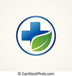 levél növényen, jelkép, tervezés, egyszerű, kereszt, egészség
