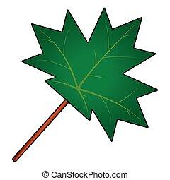 levél növényen, jelkép, vektor, ikon, juharfa, design.