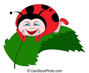 levél növényen, katicabogár, zöld