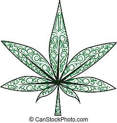 levél növényen, marihuána