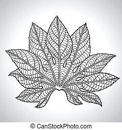 levél növényen, vektor, fekete, ábra