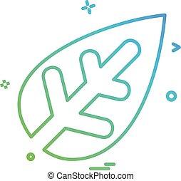 levél növényen, vektor, tervezés, ikon