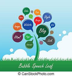 levél növényen, virág, beszéd, fa, buborék