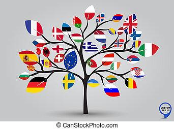 levél növényen, zászlók, fa, európa, tervezés