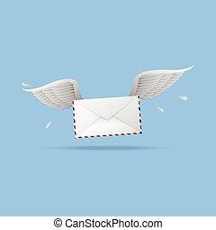 levél, repülés, felad