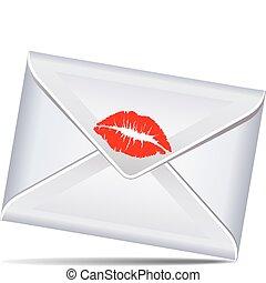 levél, szeret, csókol, csukott