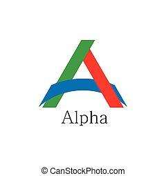 levél, vektor, dolgozat, jel, színes, összekapcsolt, alfa