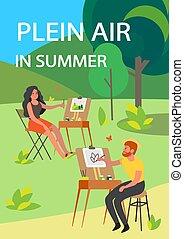 levegő, festmény, transzparens, outdoors., plein, vagy, fiatal, művész, emberek, poster.
