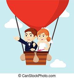 levegő, párosít, repülés, házas