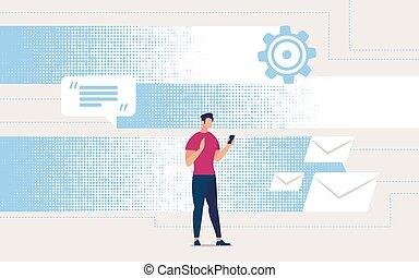 levelezés, online., repülő, felfogó, hirdetés