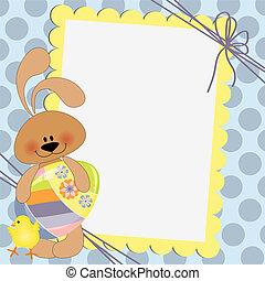 levelezőlap, csinos, húsvét, sablon