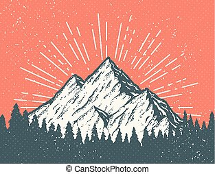 levelezőlap, hegy, retro