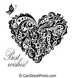 levelezőlap, szüret, alakít, szív