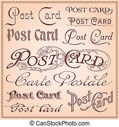 levelezőlap, szüret, letterings
