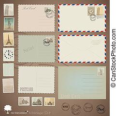 levelezőlap, szüret, tervezés, vektor, stamps., boríték, set: