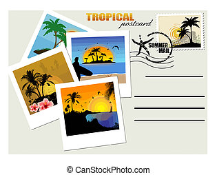 levelezőlap, tropikus