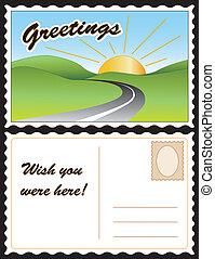 levelezőlap, utazás