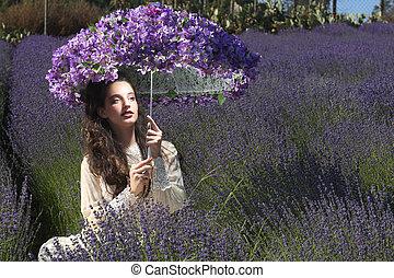 levendula, meglehetősen, virág, fiatal lány, mező, szabadban