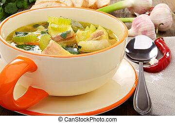 leves, fish, bowl., növényi