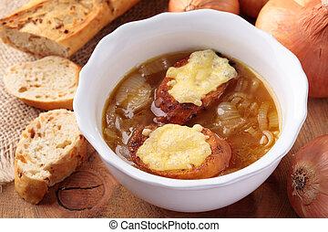 leves, francia, vöröshagyma