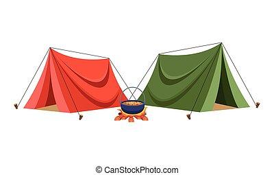 leves, máglya, kempingezés, sátor