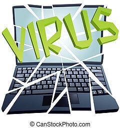 lezuhan, megszakadás, darabok, vírus, computer értékpapírok, laptop
