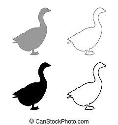 libák, ábra, szürke, liba, fekete, szín, mód, gúnár, kép, szilárd, barka, vektor, anser, áttekintés, árnykép