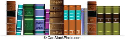 libr, könyvespolc, ábra, vektor