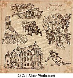 liechtenstein, kéz, utazás, vektor, -, húzott, konzervál