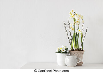 life., flowers., címzett, fűzfa, nárcisz, mozdulatlan, háló, space., sárga asztal, fehér, eredet, másol, üres, kávécserje, branches., kankalin, transzparens, virágos, részvény, háttér., photo., composition., húsvét, befőzött, cica, csésze
