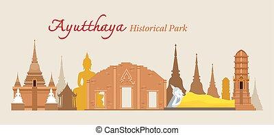 liget, ayutthaya, történelmi, thaiföld