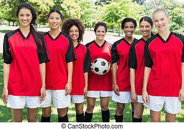liget, befog, futball, női, boldog