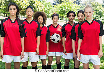 liget, befog, futball, női, labda