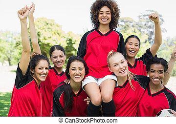 liget, befog, sikeres, futball, női
