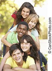 liget, bolyhos, csoport, feláll, tizenéves