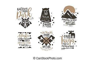 liget, cégtábla, promo, vadon, sorozat, alapismeretek, alaszka, nemzeti, silhouettess