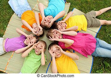 liget, csoport, gyerekek