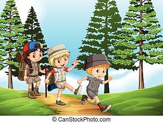 liget, csoport, gyermekek természetjárás