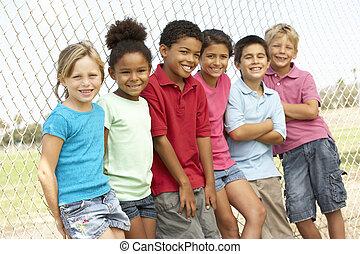 liget, csoport, játék, gyerekek