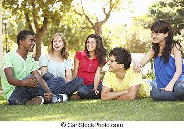 liget, csoport, tizenéves, beszélgető, együtt