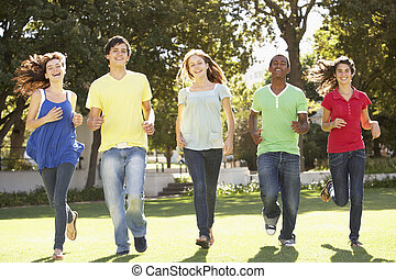 liget, futás, csoport, tizenéves, át