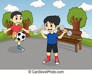 liget, gyermekek játék