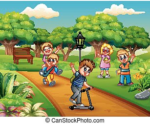 liget, játék, csoport, gyerekek, karikatúra