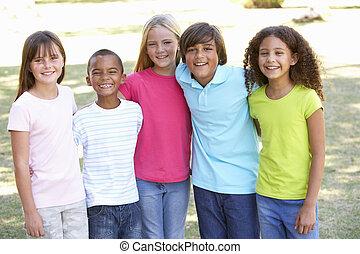 liget, játék, csoport, gyerekek, portré