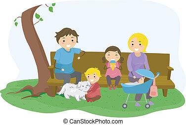 liget, kötés, stickman, család
